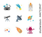 nine stylish space icons | Shutterstock . vector #444713947