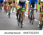 very fast cyclists pedal... | Shutterstock . vector #444732253