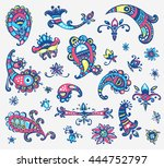 collection of hand drawn... | Shutterstock . vector #444752797
