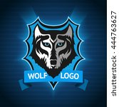 vector wolf logo  badge... | Shutterstock .eps vector #444763627