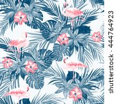 indigo tropical summer seamless ... | Shutterstock .eps vector #444764923