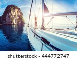 young lady standing on the bow... | Shutterstock . vector #444772747