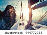 young lady standing on the bow... | Shutterstock . vector #444772783