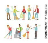 adult people cleaning up... | Shutterstock .eps vector #444801613