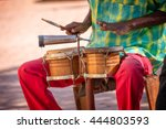 street musician playing drums... | Shutterstock . vector #444803593