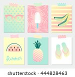 set of bright summer greeting... | Shutterstock .eps vector #444828463