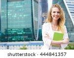 portrait of smiling beautiful... | Shutterstock . vector #444841357