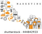 marketing team on white... | Shutterstock .eps vector #444842923