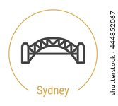 Stock vector sydney australia outline icon with caption city logo landmark vector symbol sydney harbour 444852067