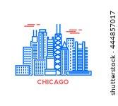 chicago city architecture retro ... | Shutterstock .eps vector #444857017