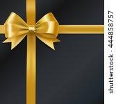 golden bow ribbon on black.... | Shutterstock .eps vector #444858757