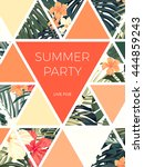 bright hawaiian design with... | Shutterstock .eps vector #444859243