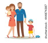 happy family with kids. cartoon ... | Shutterstock .eps vector #444874387