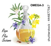 omega 3 fatty acid sources. set ... | Shutterstock .eps vector #444877567