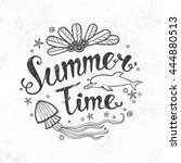 summer lettering. text and... | Shutterstock .eps vector #444880513