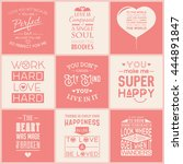 set of vintage love typographic ... | Shutterstock .eps vector #444891847