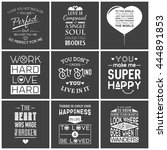 set of vintage love typographic ... | Shutterstock .eps vector #444891853