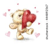 teddy bear with the big red... | Shutterstock . vector #444892567