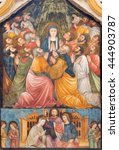 Small photo of BRESCIA, ITALY - MAY 22, 2016: The fresco of Pentecost in church Chiesa di Santa Maria del Carmine (Pentecost chapel) by artist from Brescian school from 15. cent.