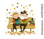 old couple in love sitting on... | Shutterstock .eps vector #444924823