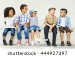 children kids casual offspring... | Shutterstock . vector #444927397