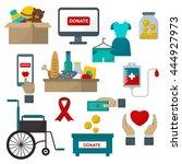 donate help symbols charity... | Shutterstock .eps vector #444927973