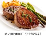 grilled beefsteaks and... | Shutterstock . vector #444964117
