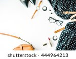 flat lay feminini clothes and... | Shutterstock . vector #444964213