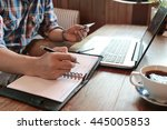 hand write note on paper with... | Shutterstock . vector #445005853