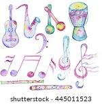hand drawn watercolor music... | Shutterstock . vector #445011523