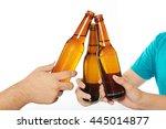 close up of beer bottles... | Shutterstock . vector #445014877