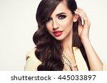 glamour portrait of beautiful... | Shutterstock . vector #445033897