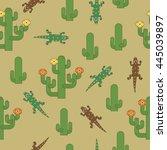 seamless desert pattern... | Shutterstock .eps vector #445039897