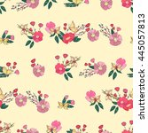floral seamless pattern with... | Shutterstock .eps vector #445057813
