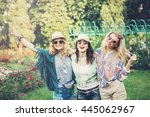 happy friends in the park on a... | Shutterstock . vector #445062967