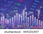 finance abstract blue... | Shutterstock . vector #445101457