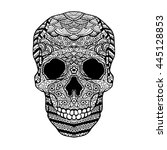 vector hand drawn skull on... | Shutterstock .eps vector #445128853