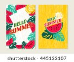 hello summer set of greeting... | Shutterstock . vector #445133107