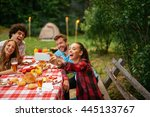 friends enjoying picnic day and ... | Shutterstock . vector #445133767