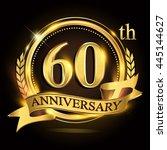 60th golden anniversary logo... | Shutterstock .eps vector #445144627
