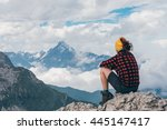girl watching the italian alps... | Shutterstock . vector #445147417