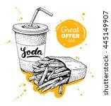 vector vintage fast food... | Shutterstock .eps vector #445149907