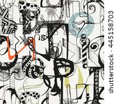 seamless grunge doodle... | Shutterstock .eps vector #445158703