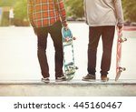 Two Skaters Posing On A Ramp I...