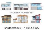 modern houses set  real estate... | Shutterstock .eps vector #445164127
