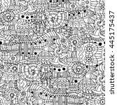stock doodle marine life... | Shutterstock . vector #445175437