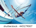young lady relaxing in the... | Shutterstock . vector #445179007