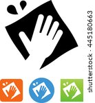 hand using a cloth to clean up... | Shutterstock .eps vector #445180663