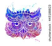 ornament owl vector. beautiful...   Shutterstock .eps vector #445188823