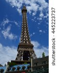 Stock photo replica eiffel tower in las vegas with nice blue sky 445223737